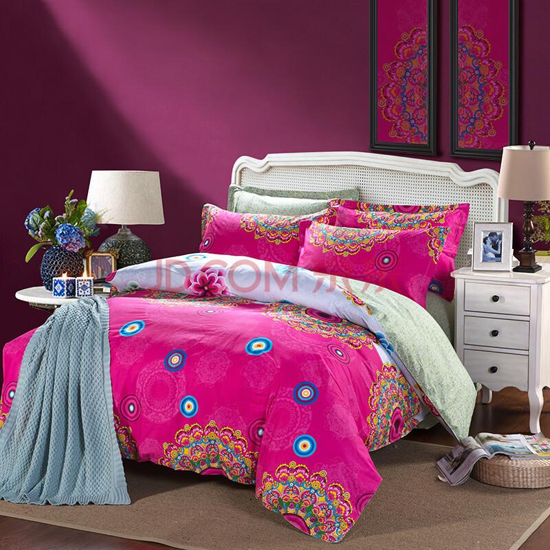 皇玉世佳家纺 床上用品全棉活性斜纹印花欧式四件套 纯棉双人四件套图片