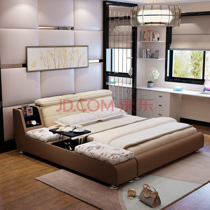 乐和居 布艺床 实木 双人欧式床 榻榻米 简约床 多功能家具 北欧美式图片