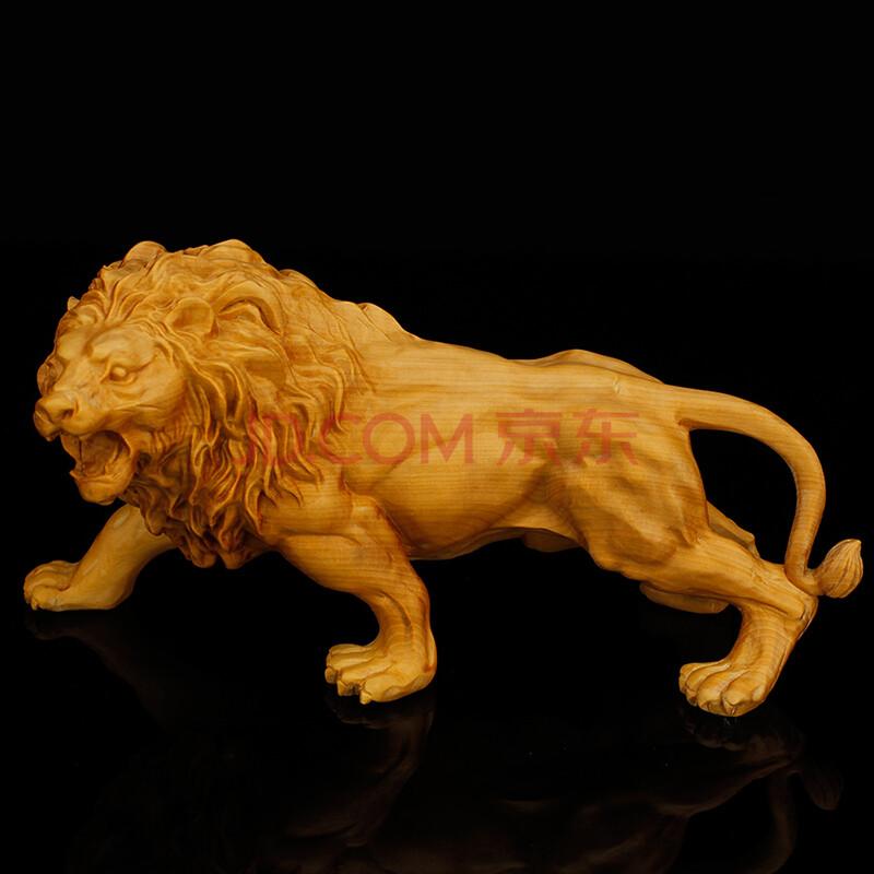 顺通礼坊 黄杨木雕摆件 雄狮工艺品 手工雕刻狮子 茶宠把玩件收藏送礼
