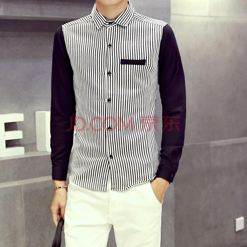 c2潮朝2016新款牛仔条纹拼接设计设计 撞色长袖衬衫时尚百搭 黑色 m