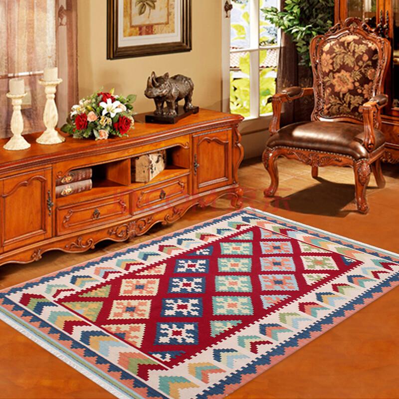 宏兴kilim地毯客厅地毯羊毛手工编织地毯克里姆卧室异域民族藏毯 8223