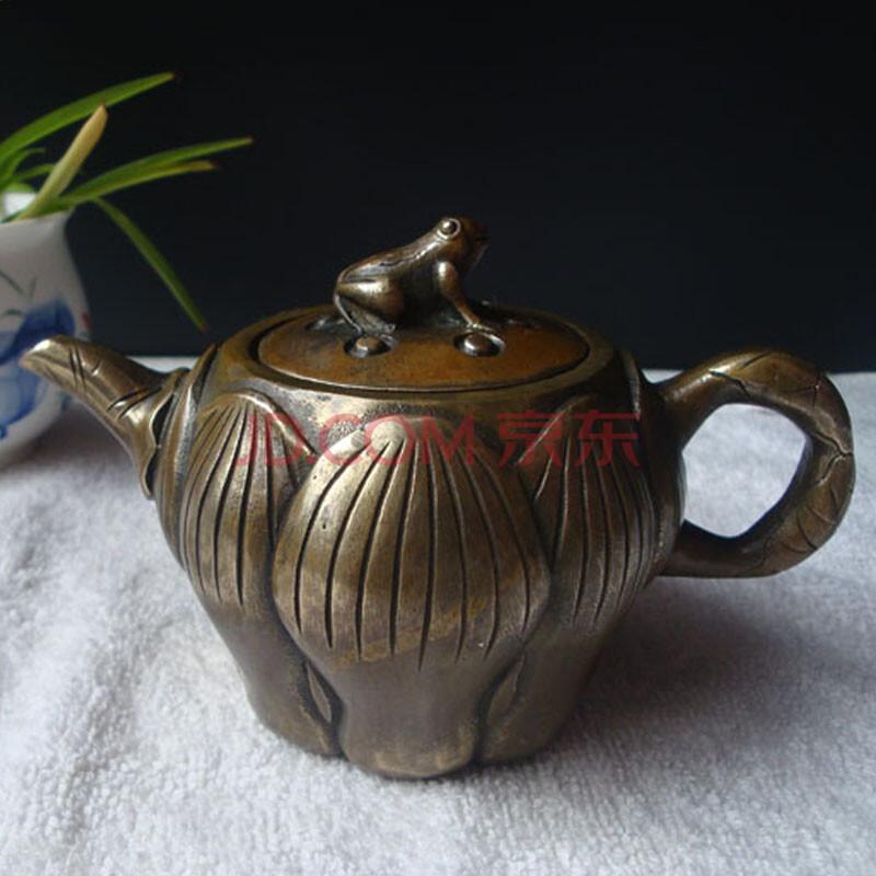 礼意绵绵 中式复古铜制荷花水壶摆件 仿古做旧摆件图片