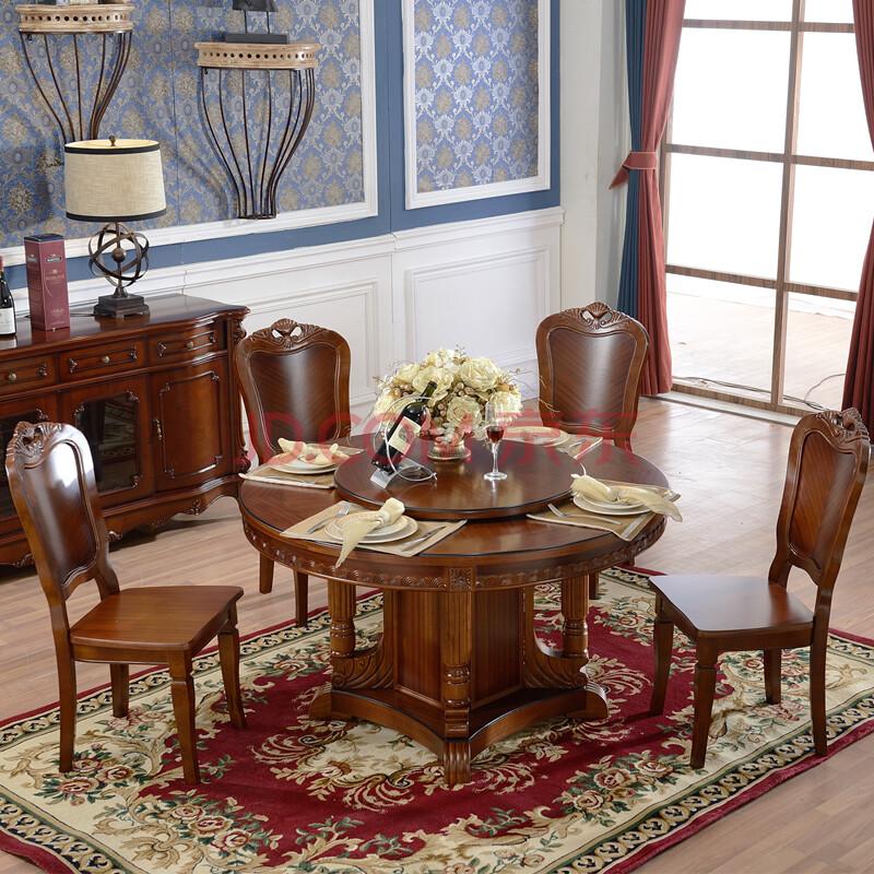 简右 现代中式餐桌 美式实木圆桌 酒店大圆桌桌子2米和2.