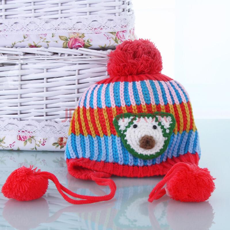 儿童毛线帽子秋冬季保暖帽子女童宝宝帽子户外防风针织帽 红色 均码