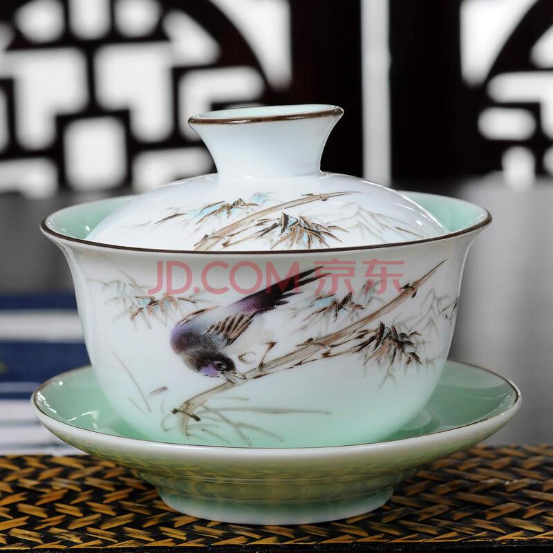 同吉堂 景德镇手绘青花瓷盖碗茶杯大号陶瓷功夫茶具三才碗茶碗泡茶壶