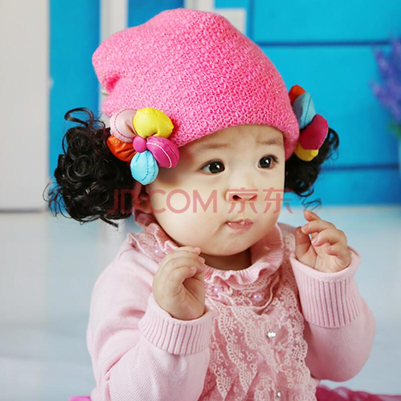 苏可儿 冬季儿童新款保暖帽子 女童抓绒帽 女宝宝童帽假发帽 婴儿帽加