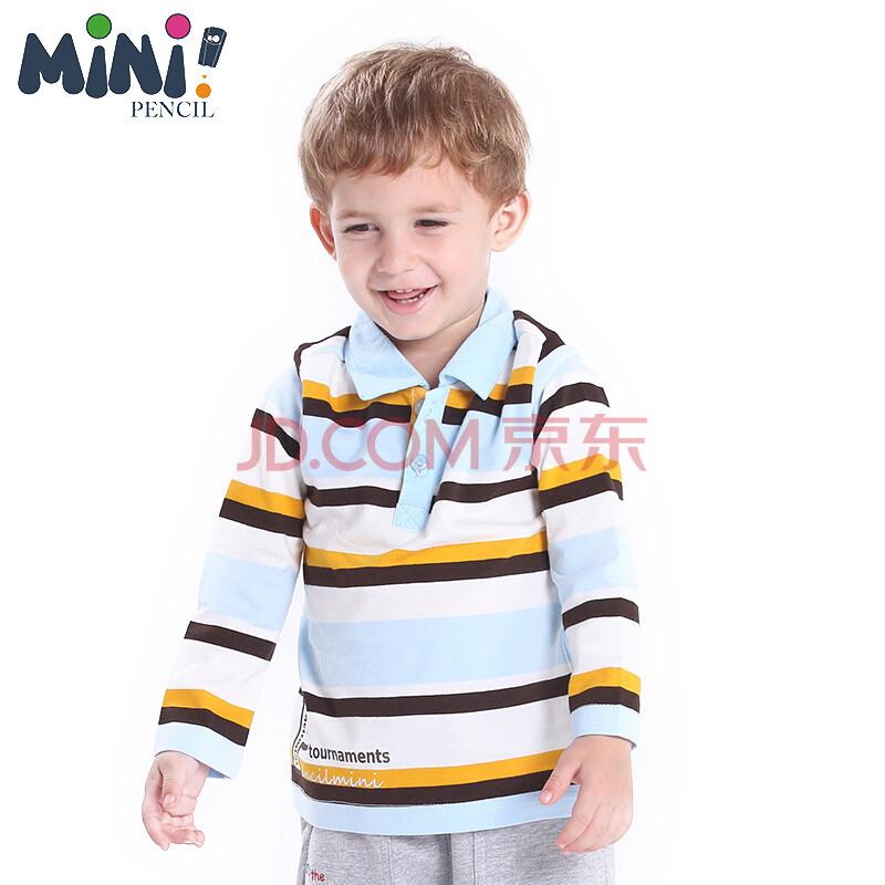 迷你铅笔婴儿衣服 新款婴儿秋装 男童翻领长袖t恤男宝宝条纹纯棉打底