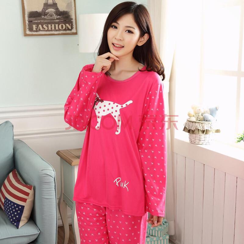 茵珠丽秋冬季新款韩版pink牛奶丝长袖女装睡衣套装 可爱时尚卡通女生