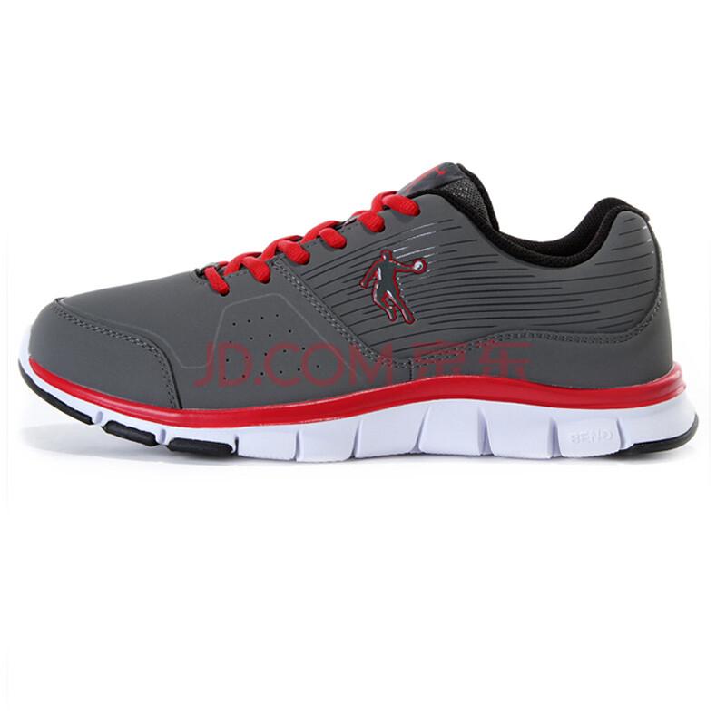 乔丹运动鞋 男跑步鞋轻便舒适百搭防滑旅游鞋气垫跑鞋 岩石灰/乔丹红