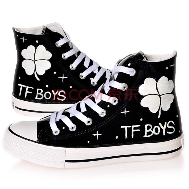 boys四叶草手绘鞋涂鸦鞋子星空中