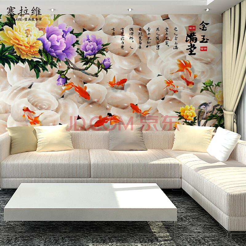 现代中式环保无纺布无缝大型壁画