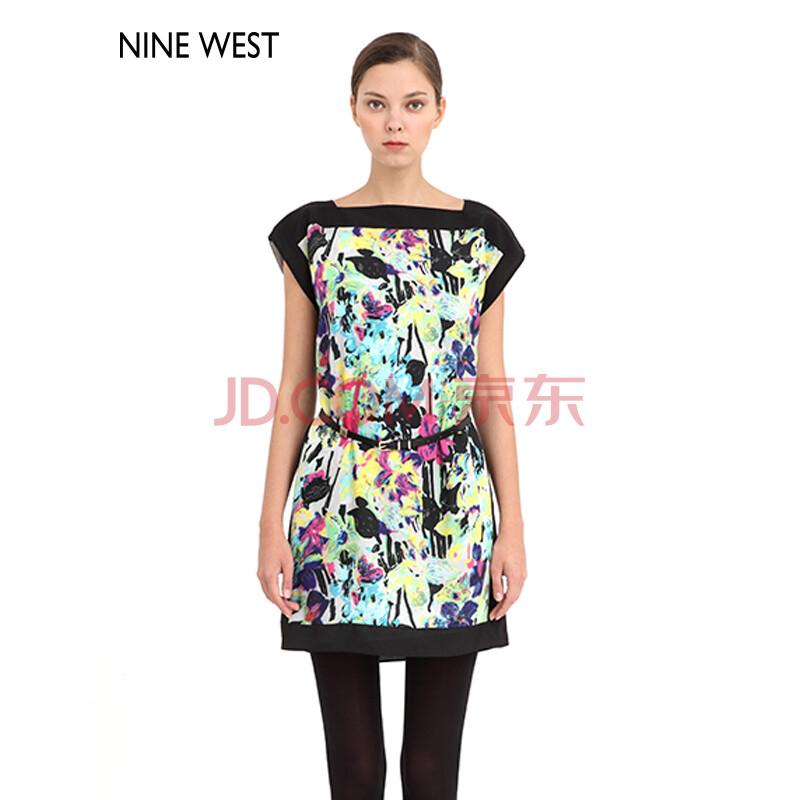 nine west玖熙女装 春装新品印花收腰气质优雅时尚背心连衣裙