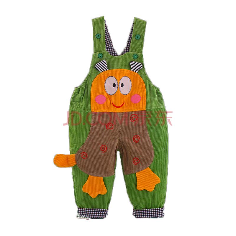 宝宝连体背带裤 婴幼儿宝宝纯棉保暖可爱背带裤 绿色 100