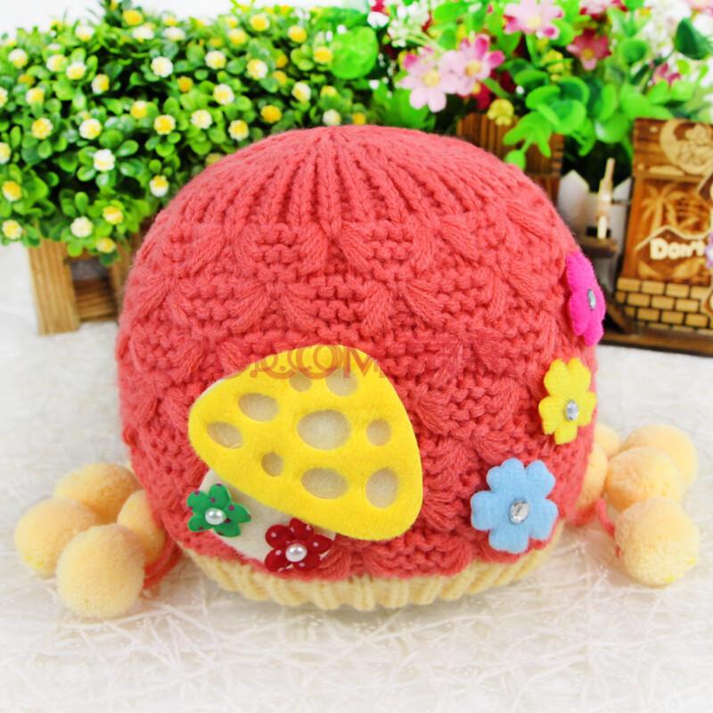 宝宝帽子秋冬季婴儿帽子男女宝宝小蘑菇加厚双层保暖毛线帽 红色 均码