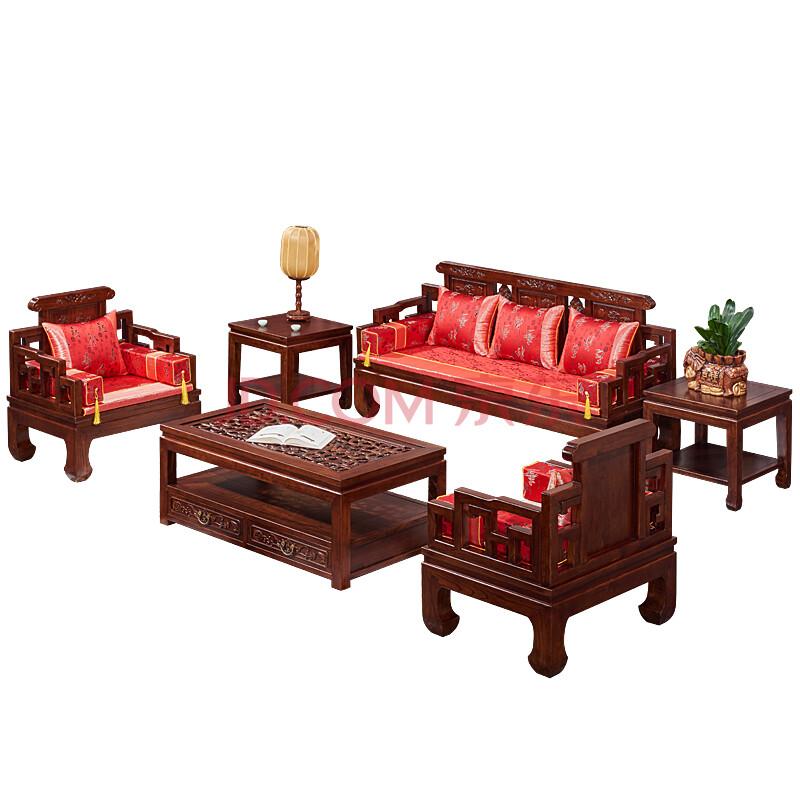 森德 榆木家具实木沙发组 中式客厅榆木沙发 明清仿古图片