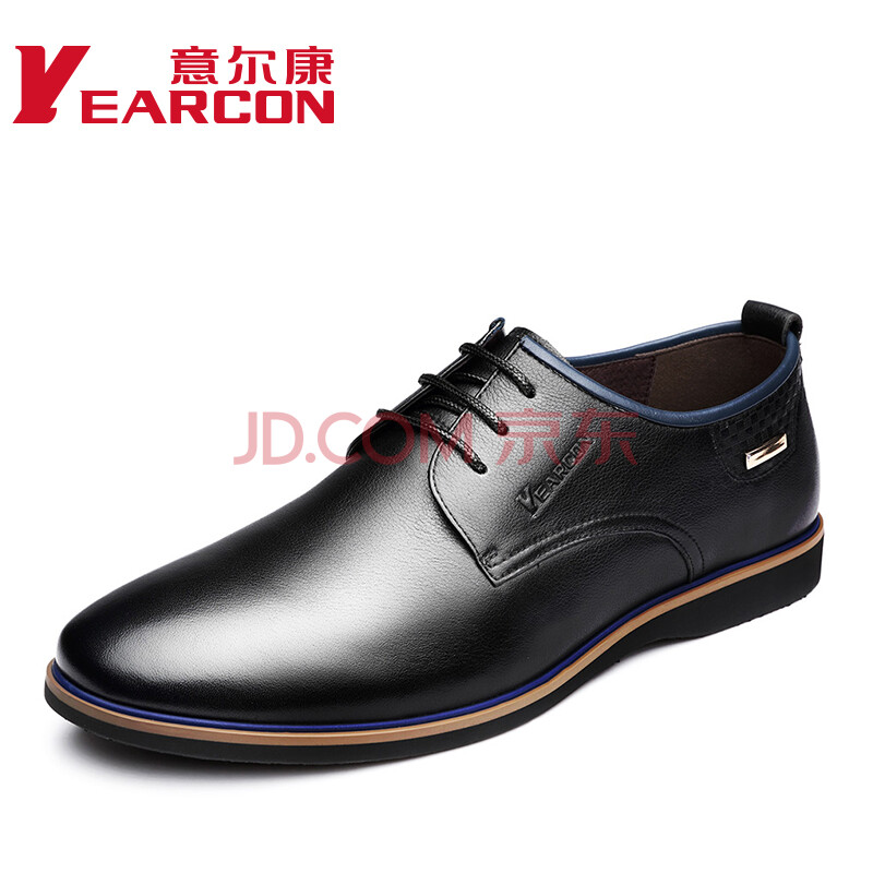 意尔康皮鞋经典潮流商务休闲单鞋牛皮时尚软面轻便舒适系带单鞋6431AE69092W 黑色 41