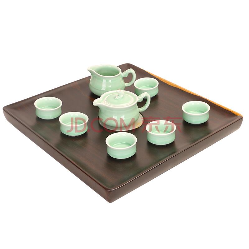 品和 黑檀木茶盘搭配玉石 实木茶海茶台功夫茶具 正方形托盘茶托四方