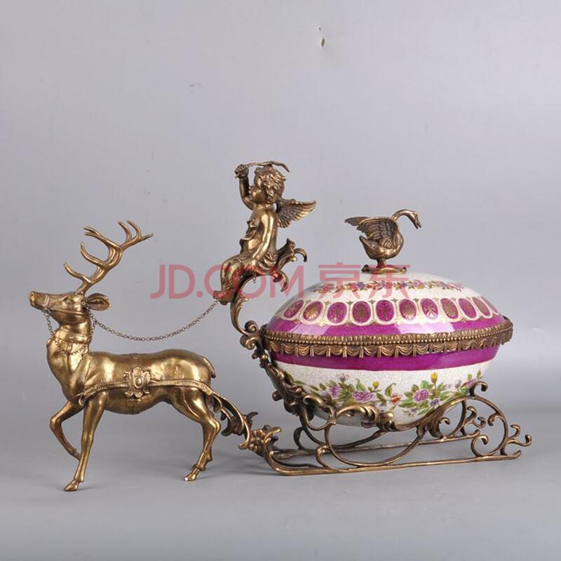 露菲亚 欧式美式手绘陶瓷纯铜小鹿果盘别墅家居饰品摆件工艺品