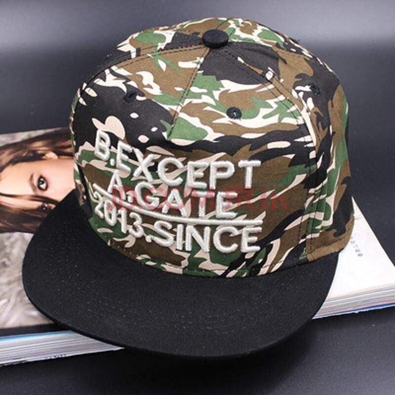迷彩平沿嘻哈帽棒球帽子女夏季户外休闲遮阳帽鸭舌帽ty agate白色花纹