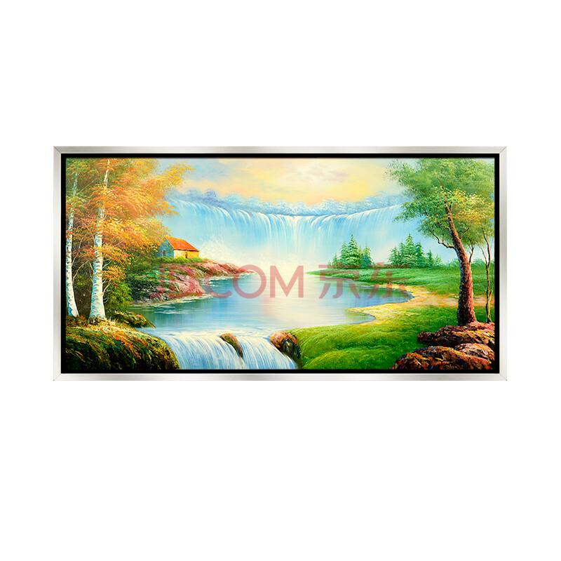 丹青在线 远山的呼唤 实木框风景油画 现代装饰画 手绘办公室走廊挂画