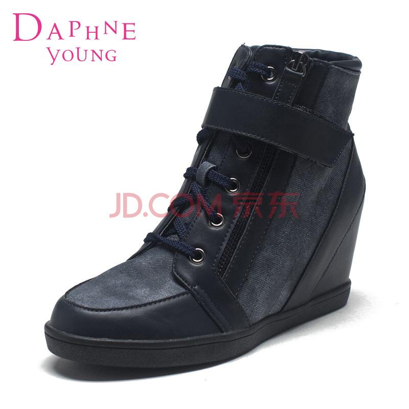 达芙妮 系带魔术贴拉链内增高女高帮鞋