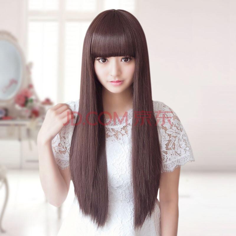 黛娜儿假发 假发女 长直发齐刘海假头发女士中长发头套自然逼真修脸图图片