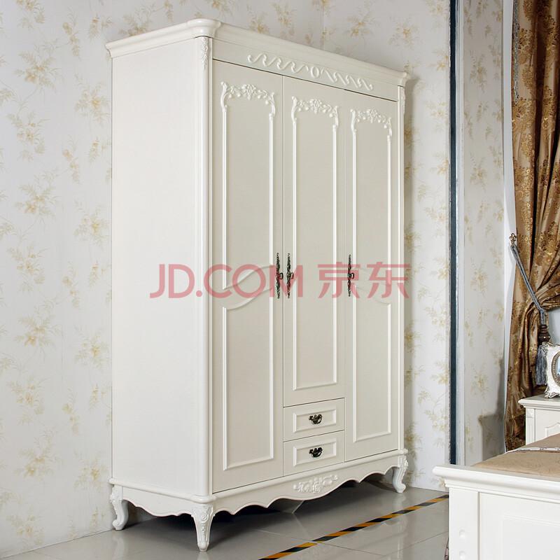 荡漾三门衣柜 板木大衣柜 平开门烤漆衣柜 木质衣橱 象牙白 描金