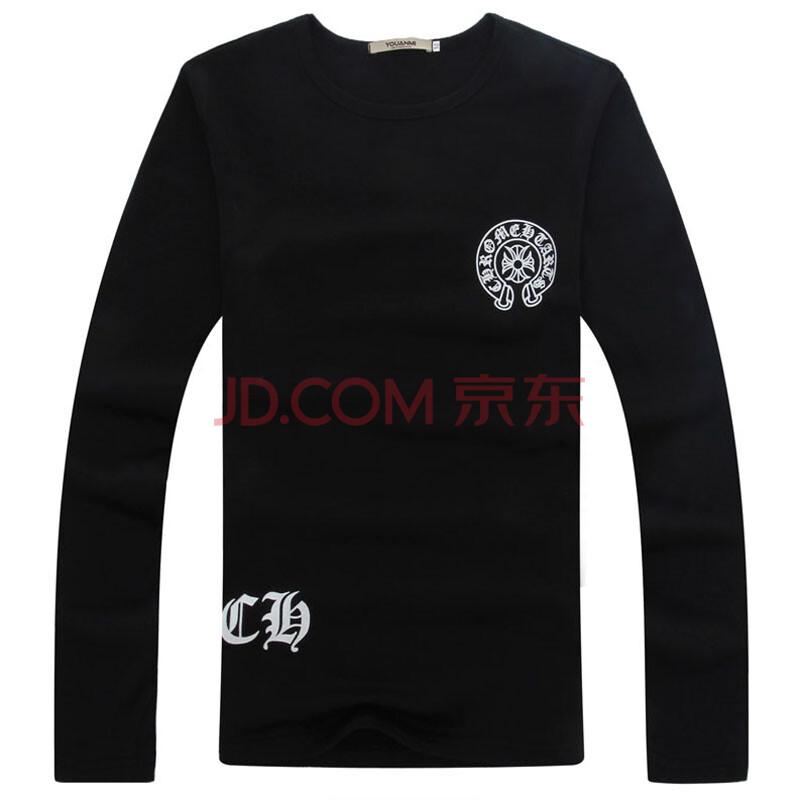 落雁莎 2014秋季男装新款长袖 修身 印花 t恤 男士 韩版 潮牌款式