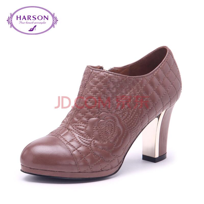哈森/harson 2014秋季新款羊皮圆头粗跟单鞋 通勤纯色女鞋hl49099图片