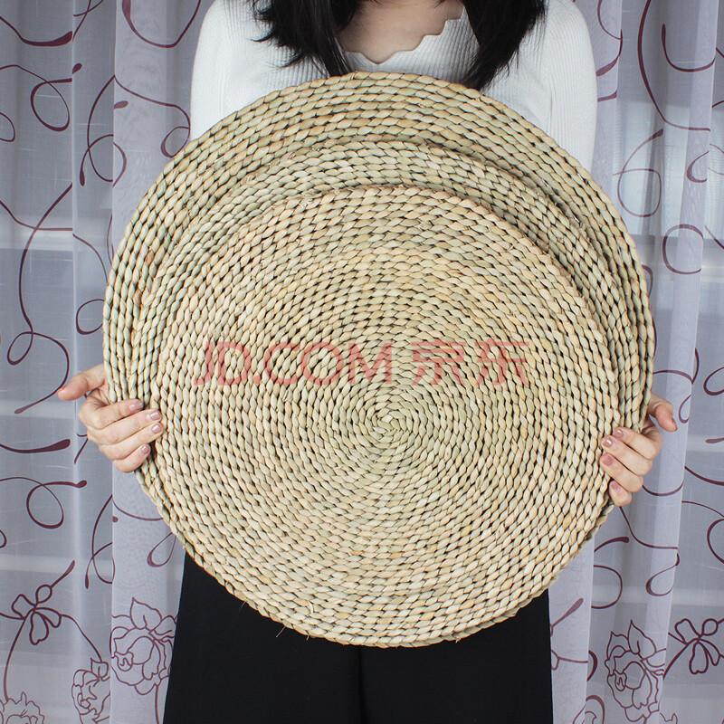 彩竹 手工编织蒲草坐垫 创意榻榻米椅子垫圆形坐垫 40