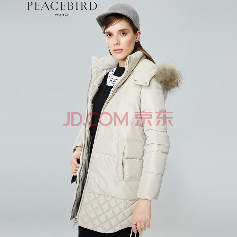 【12月1日 新品】太平鸟女装2015冬装新品长款羽绒服a2ac44340- 米色