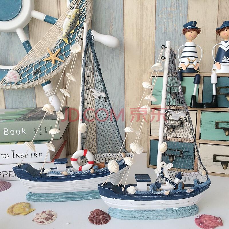 珊曼 创意海洋帆船实木手工做旧地中海风格家居饰品贝壳帆船装饰.