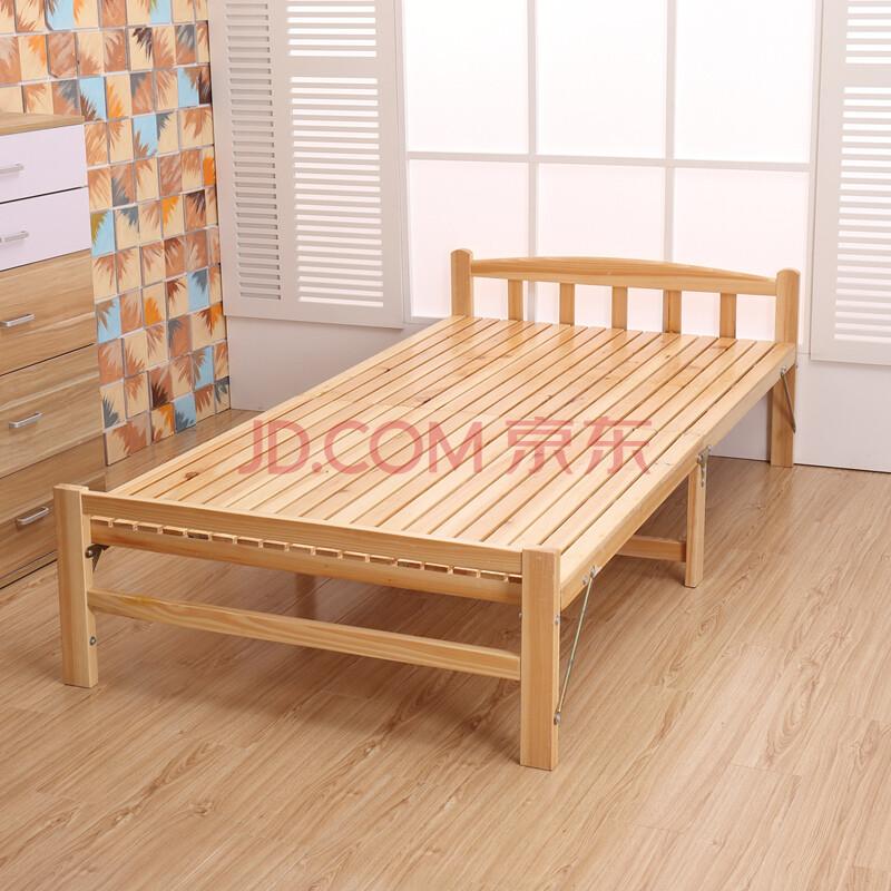 迹邦环保松木床折叠床实木床 单人床双人床简易木板床