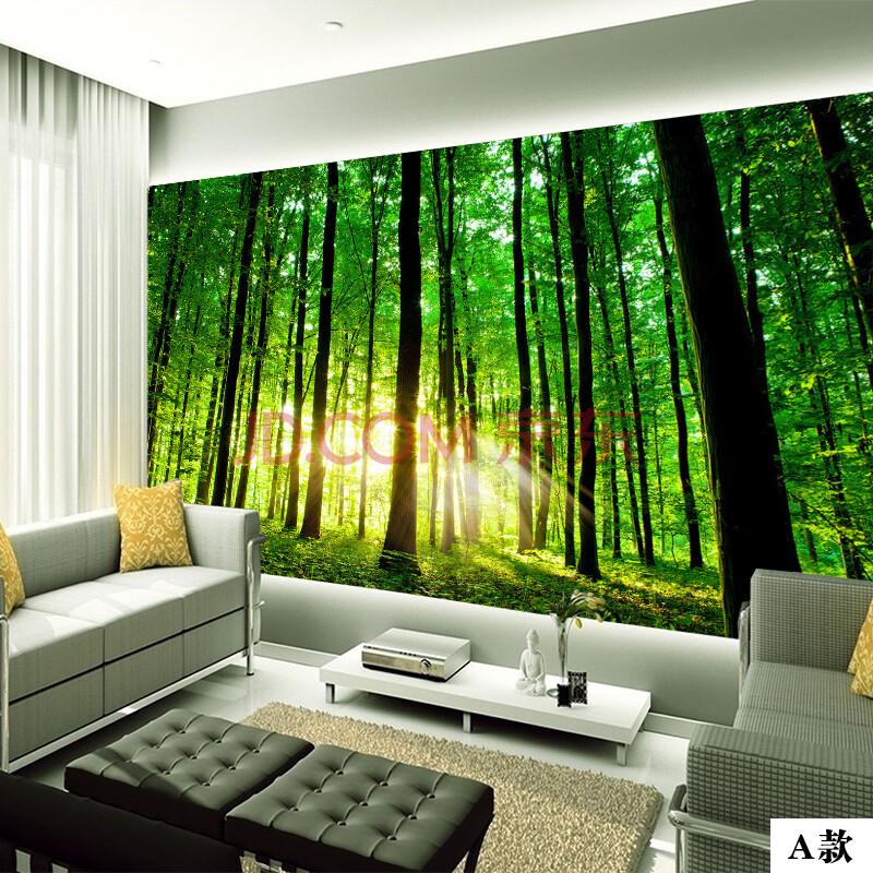 塞拉维绿色森林客厅电视墙壁纸壁画阳光树林沙发影视墙餐厅墙纸墙布