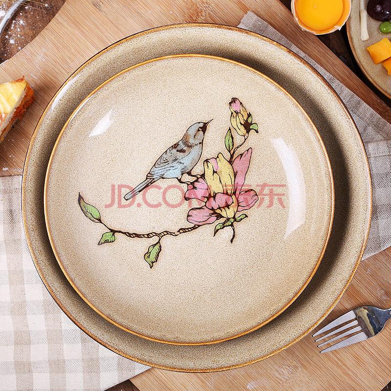 珍淘器盘子 特色手绘盘 陶瓷盘子装饰平盘 摆盘 艺术西餐菜盘 创意