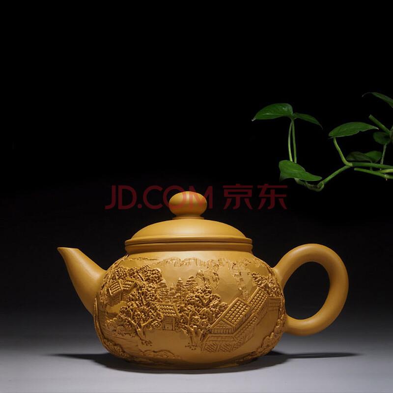 乾艺堂 大师全手工雕刻紫砂壶 山水林浮雕刀刻泡茶壶 功夫茶具茶道