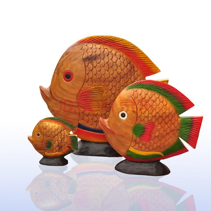 泰国工艺品 木制招财鱼摆件 开业创意礼品办工桌摆 设实木站鱼 单个图片