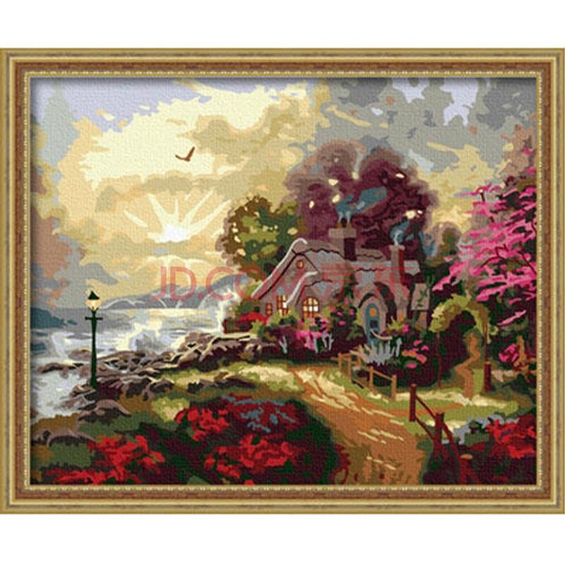 数字油画 简易手工自助手绘挂画 卧室客厅玄关风景艺术装饰 人间仙境