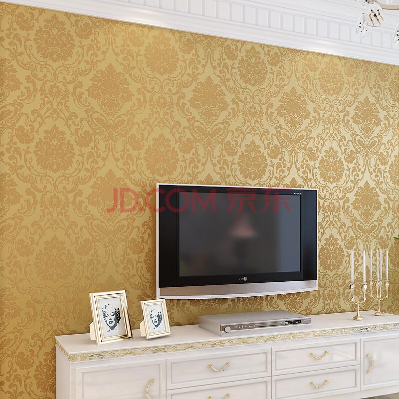 经典3d浮雕墙纸欧式大马士革墙纸客厅卧室书房壁纸电视背景墙 8675-金图片