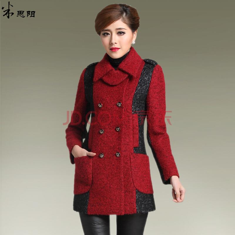 口袋呢子大衣女 暗红色