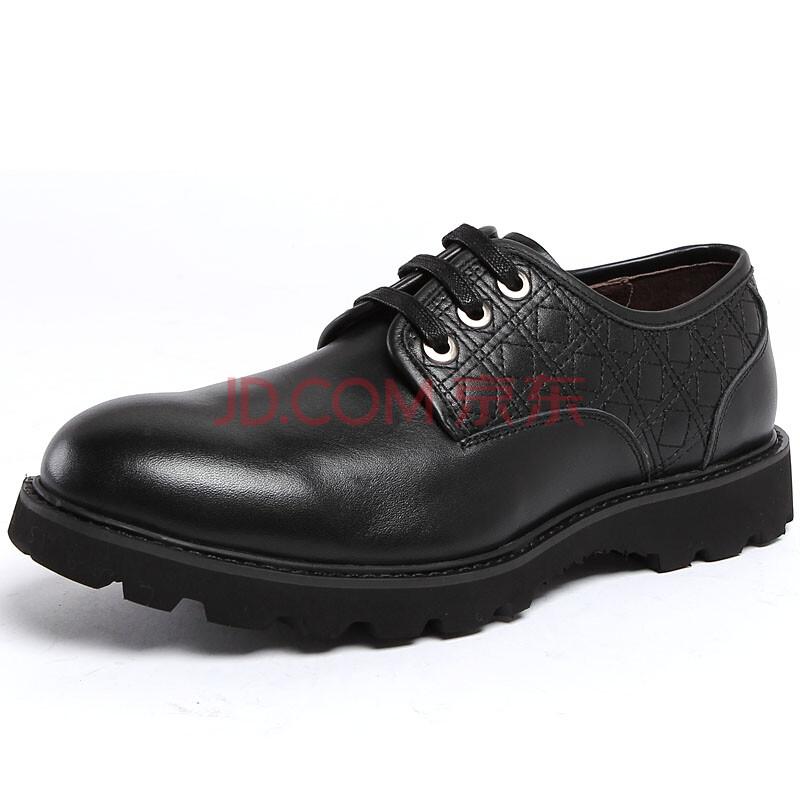 汤尼沃珂厚底牛皮休闲鞋商务正装男鞋英伦潮流单鞋尖头皮鞋韩版系带皮