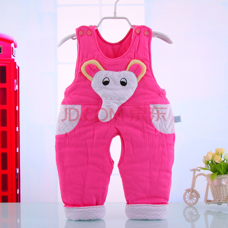 冬季童装男女童宝宝婴儿背带裤儿童加厚连体裤冬装童裤外出服 粉红色