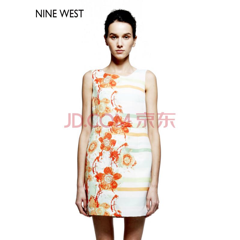 ninewest 玖熙女装 修身显瘦时尚直筒花色无袖连衣裙 3051328708