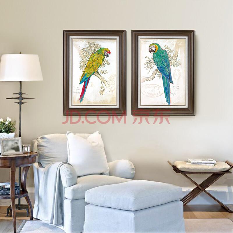 画有框画 客厅挂画餐厅壁画书房卧室玄关墙画鸟鹦鹉 胡桃木ab2件套 55