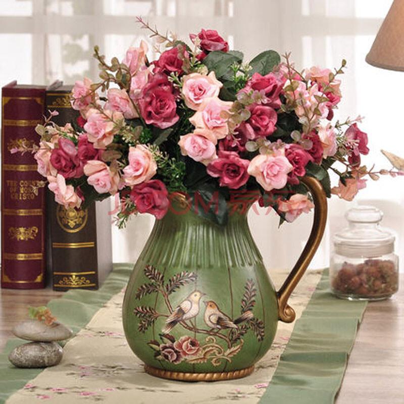 欧式装饰花玫瑰 客厅摆件花瓶图片