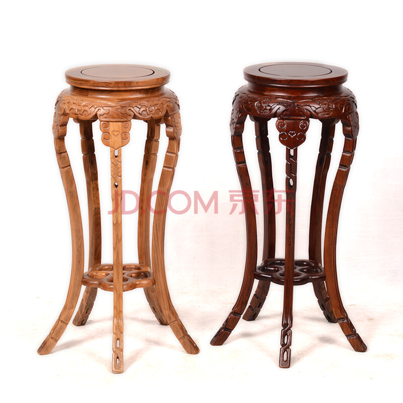 多层木质花架子 客厅榆木实木花架 简约花盆架 卧室花瓶架 原木色28cm