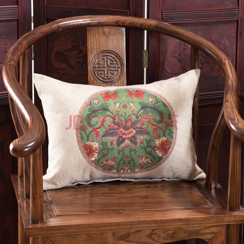 罗灵 新中式腰枕长方型圆椅腰靠办公室护腰靠垫茶室沙发装饰抱枕 百