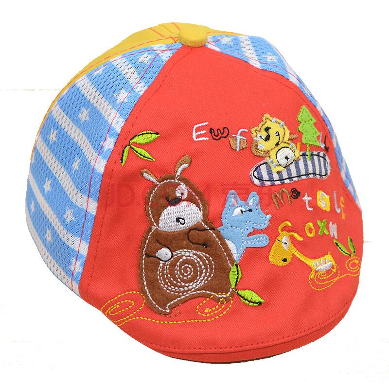 盈泰婴儿帽子宝宝遮阳帽儿童帽子贝雷帽 小熊网眼-红色 帽围约46-50cm