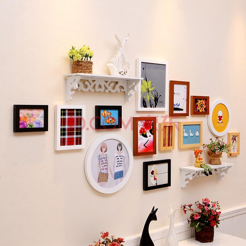 全悦13框实木照片墙 地中海挂墙相框组合 创意客厅餐厅置物架相片墙图片