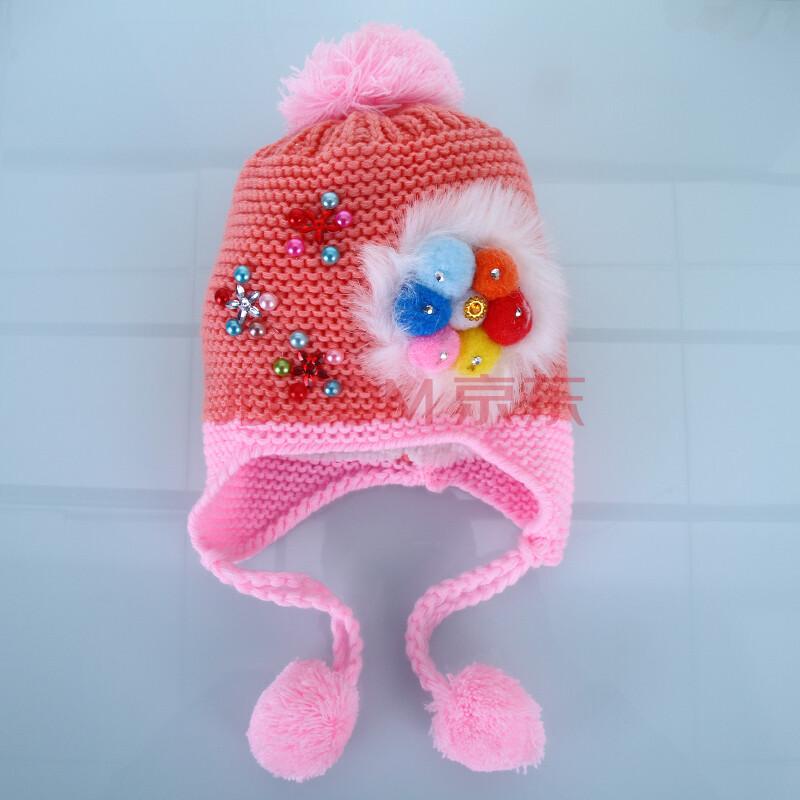 小孩冬天婴儿棉帽子秋冬女宝宝儿童婴幼儿护耳帽温暖针织帽 桔色 均码